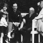 Heini Thyssen with his parents, his sister Gaby and 'Old August' in the garden at Scheveningen.