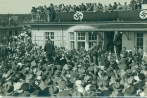 Celebrating the victory of Erlenhof's 'Nereide' at the 1936 German Derby. At the centre of the picture are (to the right) the winning horse's owner, Heinrich Thyssen (in grey top hat) and (to the left) his friend and associate Hermann Göring (in white suit to the left) (photo: Tachyphot Berlin, copyright: David R L Litchfield