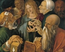 'Jesus Among the Doctors', claimed by the Thyssen-Bornemisza Museum in Madrid to be the work of Albrecht Dürer, but claimed by Thomas Schauerte to be the work of an early 17th century copyist.